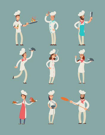 Professional cooks in kitchen uniform vector cartoon characters set.
