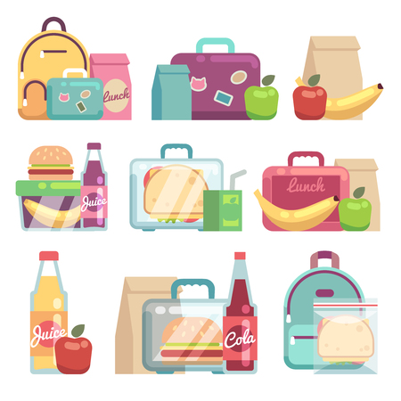 School snacks bags. Healthy food in kids lunch boxes vector set. Sandwich and snack in lunch box illustration