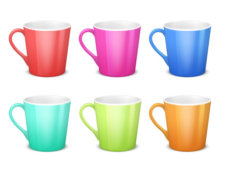 Colorful 3d mugs, empty coffee ceramic cup isolated vector collection