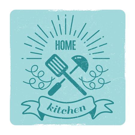 Home kitchen, home cooking label design Illustration