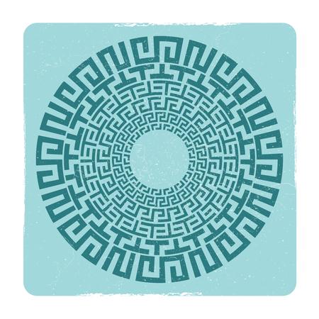 Ancient Greek round meander key emblem