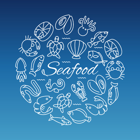 Seafood line banner with fish shrimp oyster