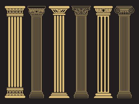 우아한 클래식 로마 기둥 일러스트