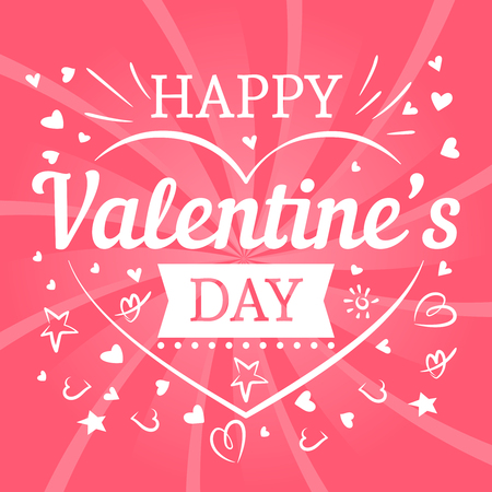 Valentines day pink postcard with hearts