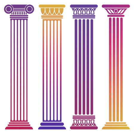 Bright ancient columns set on white background 向量圖像