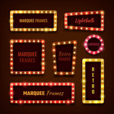 Vintage 3d light marquee Vegas frames with light bulbs vector set