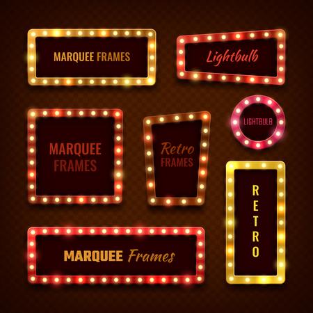 Vintage 3d light marquee Vegas frames with light bulbs vector set
