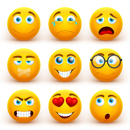 Yellow 3d emoticons vector set. Funny smiley face icons with different expressions