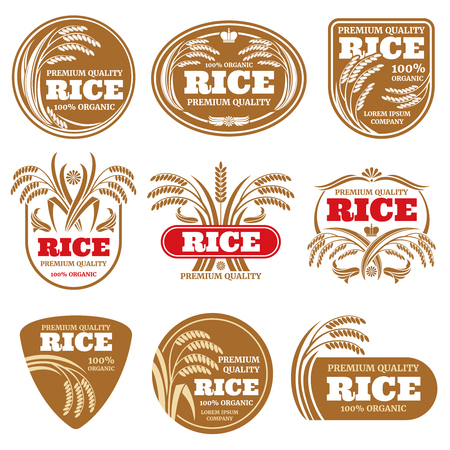 Paddy grain organic rice labels. Healthy food vector logos isolated Illustration