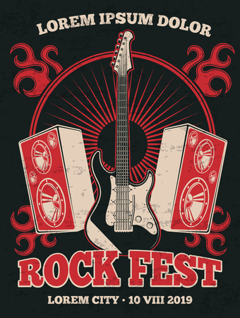 Retro rock music band vector poster with guitar