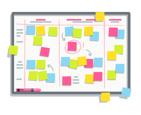 Process planning board with color sticky notes. Scrum task whiteboard flat vector illustration Illustration