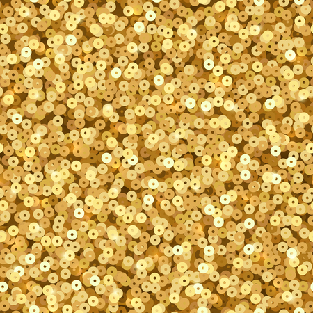 Gold luxury shimmer sequins. Disco party vector seamless texture