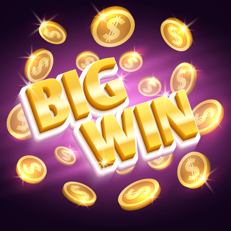 Big win money prize. Winning gambling vector concept with golden dollar coins.
