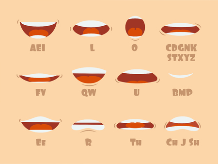 Cartoon talking mouth and lips expressions vector animations poses