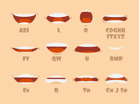 Cartoon pratende mond en lippen uitdrukkingen vector animaties vormt