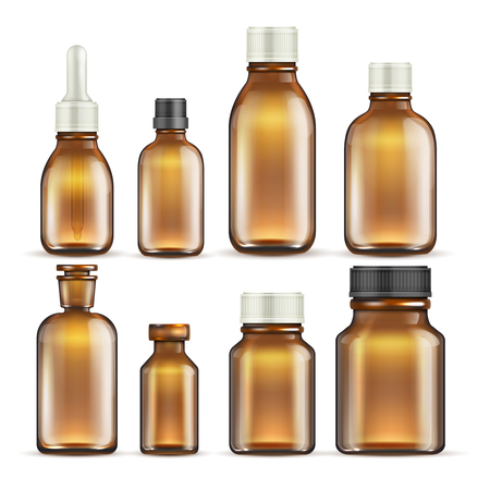 Realistic brown glass medicine and cosmetic bottles, medical packaging isolated vector set