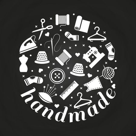 Handmade or handwork round concept on chalkboard with sewing, knitting, taylor icons. Vector illustration