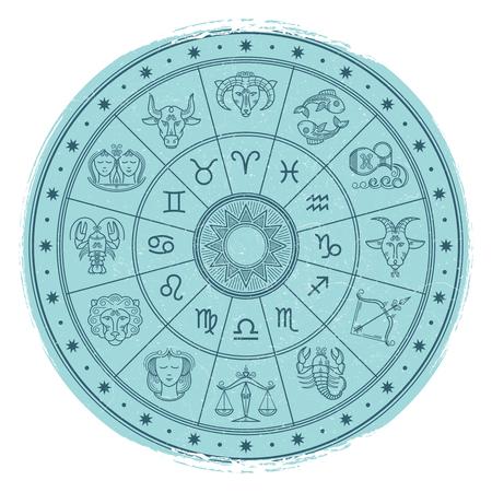 Grunge horoscope signs in astrology circle Ilustração