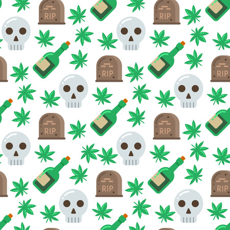 Skull and alcohol seamless pattern illustration on white background.