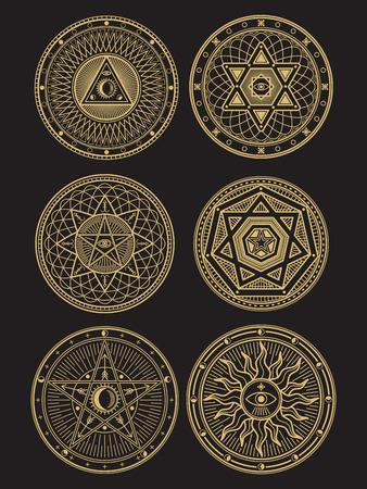 Golden occult, mystic, spiritual, esoteric vector symbols