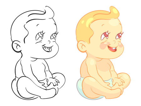 Cartoon baby coloring page with colorfull sample isolated. Vector illustration  イラスト・ベクター素材