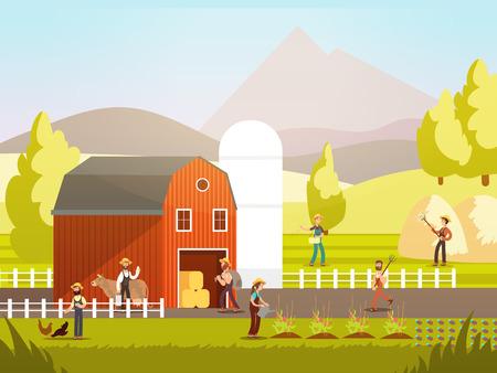 Cartoon farm with farmers, farm animals and equipment vector illustration. Farm agriculture and farmer, rural farming and landscape