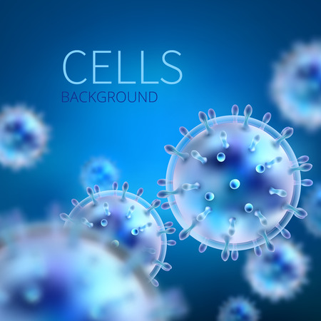Abstract vector background with cells and viruses. Biology medical science concept