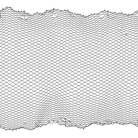 Nahtlose Beschaffenheit des schwarzen Fischerseilnetz-Vektors lokalisiert auf Weiß. Fischernetz für die Jagd, Faseroberflächenillustration
