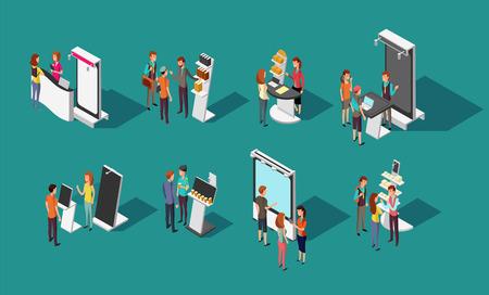 Ludzie stojący na stoiskach promocyjnych expo wektor 3d izometryczny zestaw. Wystawowy panel promocyjny i demonstracyjny, biurko promocyjne do ilustracji sklepu