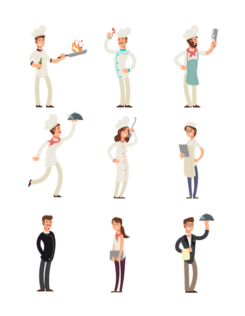 Professional chefs and restaurant staff. Happy cooks and waitress vector cartoon characters set. Illustration of waiter and chef character