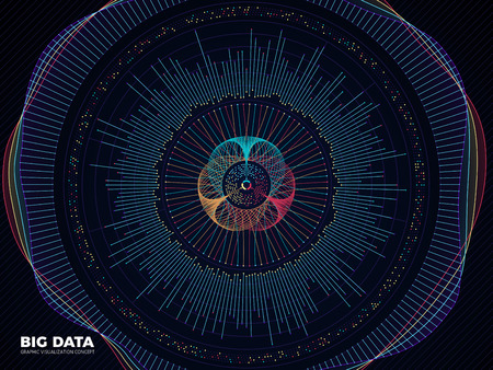 Big data graphic, complex business system visualization vector concept. Modern information digital technology background. Wave visualization colored code, visual flow structure illustration