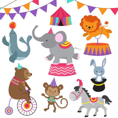 Circus child show cartoon animals vector set Stock Illustratie