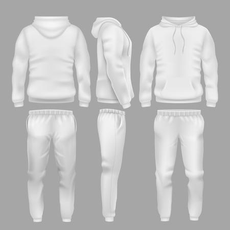 Moletom com capuz branco com calças esportivas. Esporte ativo usar capuz e calça modelos de vetores