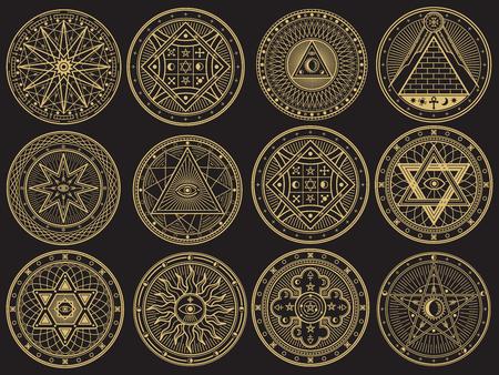 Złota tajemnica, czary, okultyzm, alchemia, mistyczne symbole ezoteryczne