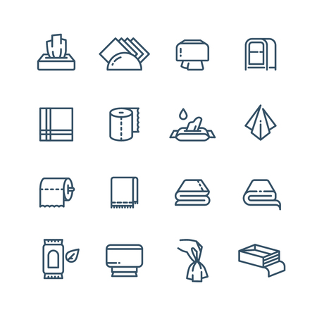 Textile towel and wet paper napkin line vector public sanitary icons