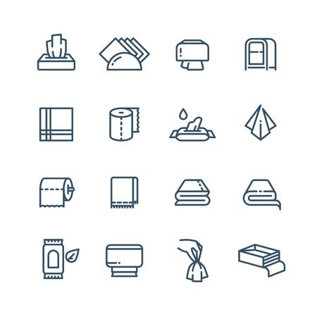 Textielhanddoek en natte papieren servetlijn vector openbare sanitaire pictogrammen Stockfoto - 94907099