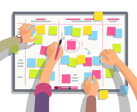 Team di sviluppatori che pianifica le attività di pianificazione settimanali sul pannello delle attività. Concetto piano di vettore di lavoro di squadra e collaborazione