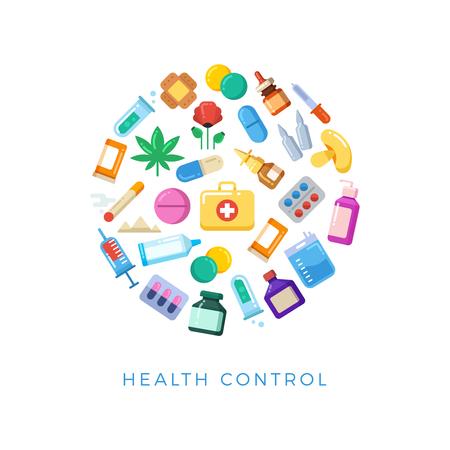 Medicinal health control round concept - bright pills bottles drugs icons. Medical health control, cigarette and syringe, poppy and mushroom, marijuana drug. Vector illustration