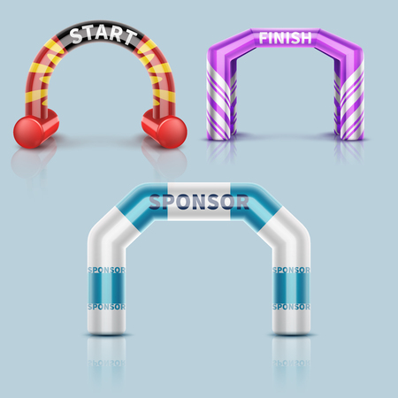 Inflatable race start and finish archway, outdoor sports event arch decoration and sponsor banner Vettoriali