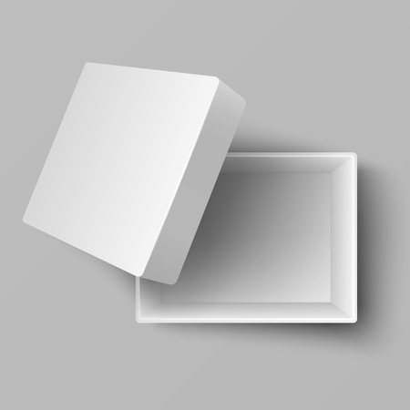 Blank white open cardboard gift box top view 3d vector illustration