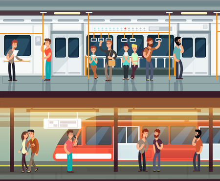 Subway inside with people man and waman. Metro platform and train interior. Urban metro vector concept