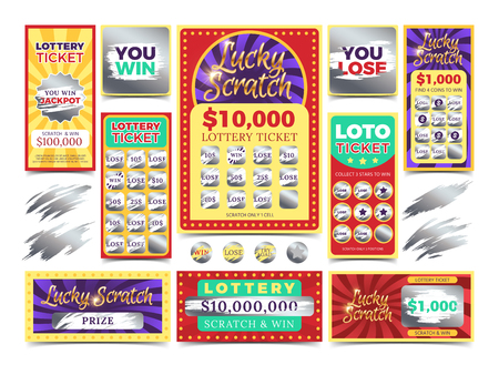 Winning scratching lottery vector tickets. Win ticket lottery, game prize card illustration 일러스트
