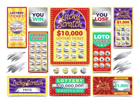 Gagner des billets de loterie à gratter. Gagnez des billets de loterie, illustration d'une carte de jeu Vecteurs