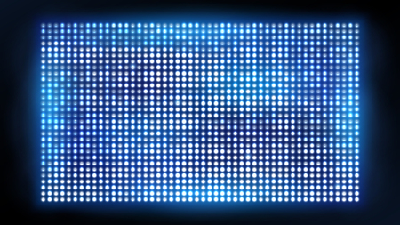 Bright led projection screen. Cinema and entertainment vector display. Vivid bright spotlight for concert, shine projection illustration