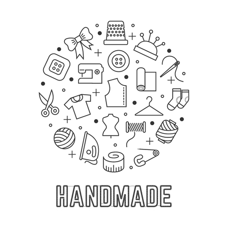 Handmade round logo design with taylor sewing linear icons isolated on white background. Sewing accessories, needlework and tailor. Vector illustration  イラスト・ベクター素材