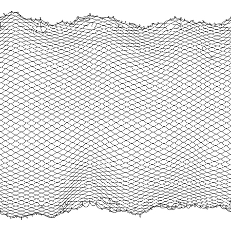 Black fisherman rope net vector seamless texture isolated on white Ilustração