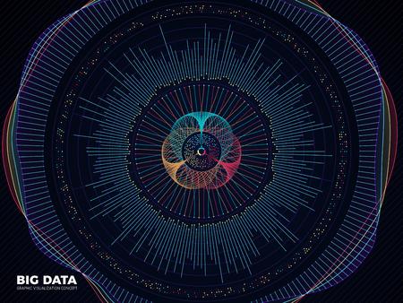 Big data graphic, complex business system visualization vector concept. Modern information digital technology background 일러스트