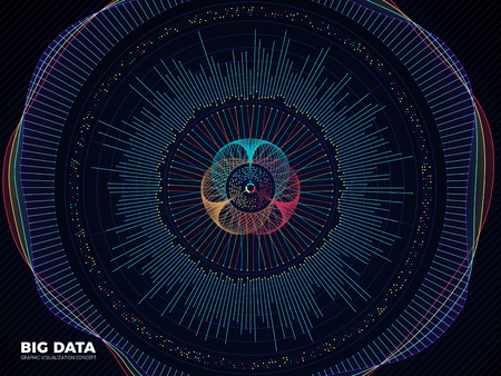 Big data graphic, complex business system visualization vector concept. Modern information digital technology background Illustration