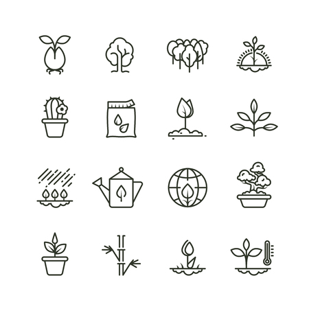 Plant, planting and seed line vector icons. Sprout growing symbols Vectores