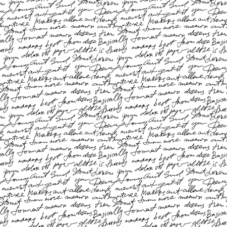 Black handwritten text on white vector repetition background. Poetry type seamless decor Vettoriali